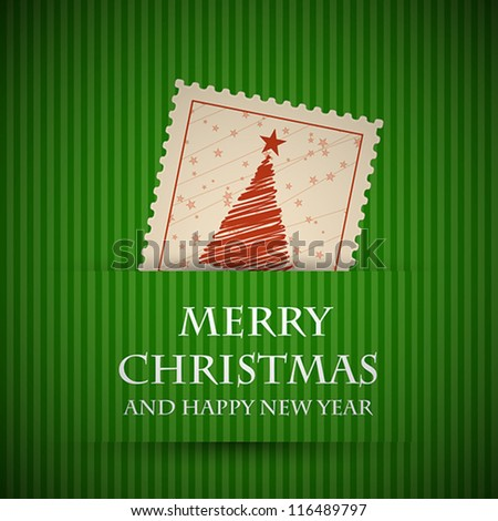 green stamp christmas card. christmas concept.