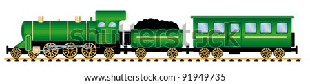 green steam locomotive with wagons, vector illustration