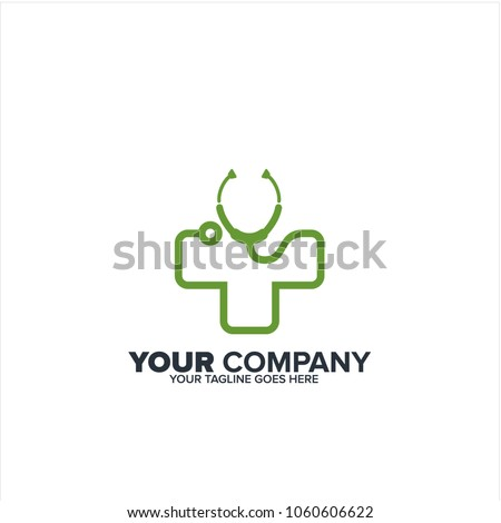 Green stethoscope icon, Green Cross medical stethoscope icon,  healthycare icon, Green line stethoscope