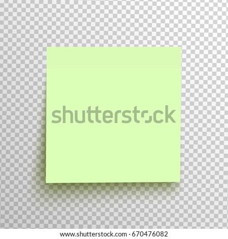 Green sticky note isolated on a transparent background. Vector element for advertising, promotion and web design