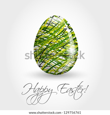 green striped egg, easter and spring concept,