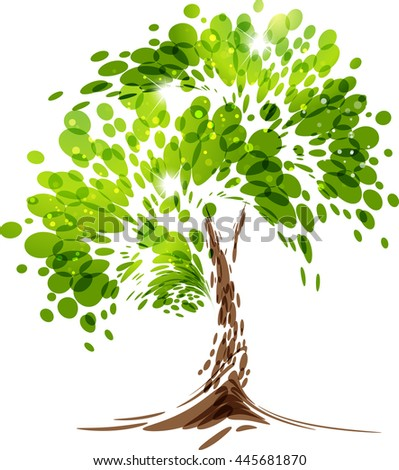 green stylized vector tree on