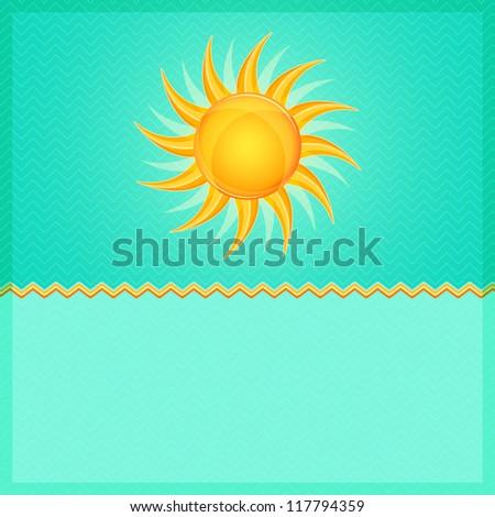 Green Summer Card with Hot Orange Shiny Glowing Sun. Vector Illustration.