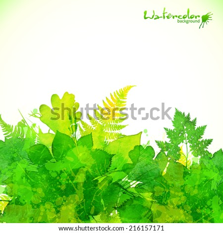 Green summer foliage vector background