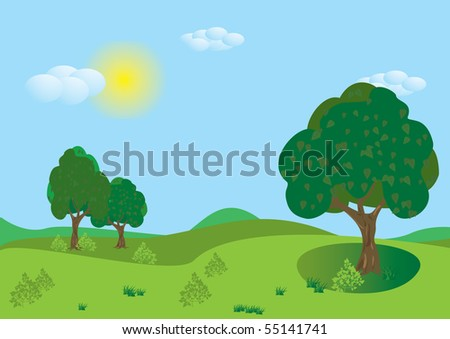 Green summer  landscape of vector illustration layered.