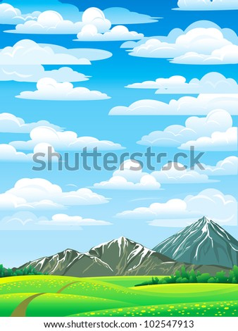 Green summer landscape with meadow, forest and mountains on a blue cloudy sky