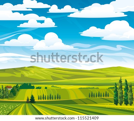 Green summer landscape with meadows and trees on a cloudy sky