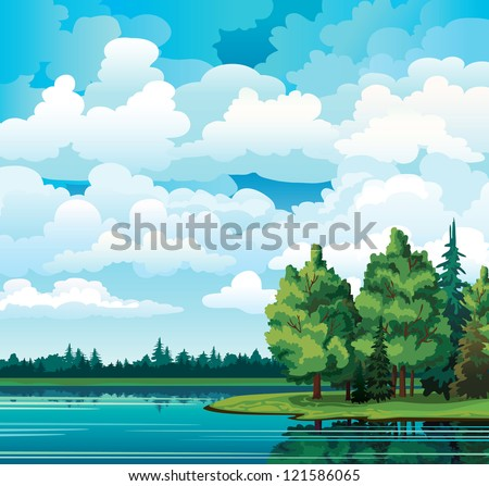 green summer landscape with