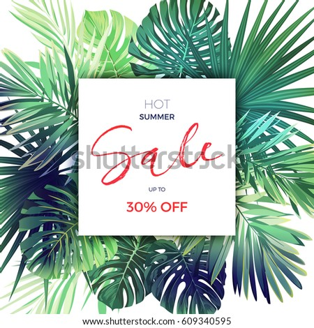 Green summer tropical background with exotic palm leaves and plants. Vector floral sale template.