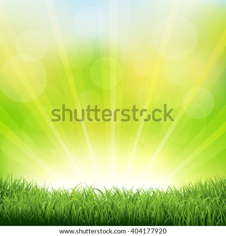 green sunburst background with