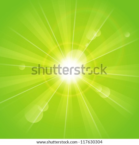 Green sunny rays background