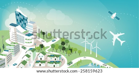 green sustainable city banner