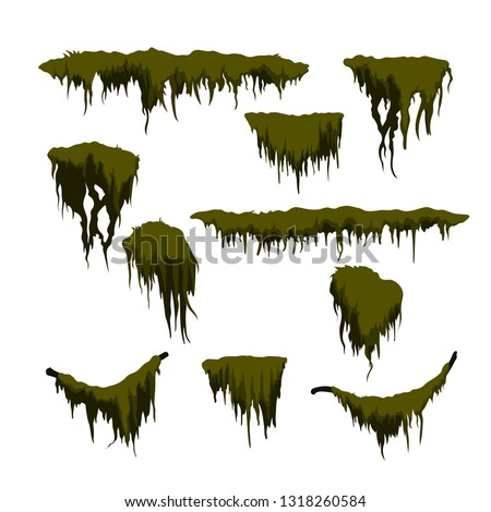 Green swamp moss on white background. Forest grass in cartoon style. Isolated design element. Game sprite. Marsh plants. Vector illustration Foto d'archivio ©