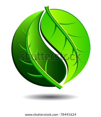 Green symbol concept using Yin Yang in a leaf design