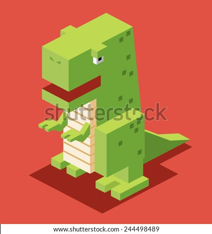 green t rex 3d pixelate