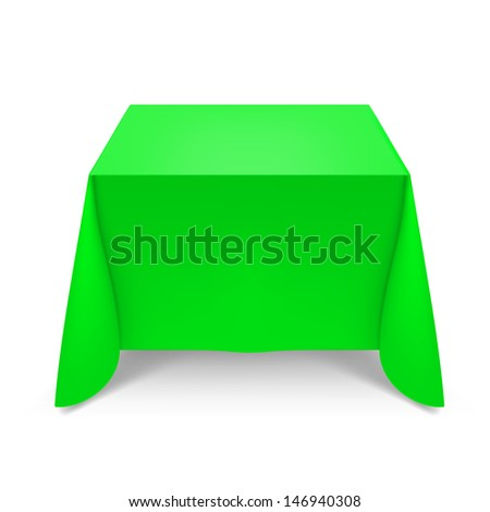 Green tablecloth. Illustration on white background for design - stock vector