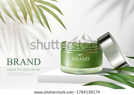 Green tea cream jar on square podium with palm leaves in 3d illustration, cosmetic ads Stock photo ©