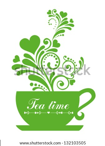 Green tea. Cup with floral design elements  isolated on White background. Vector illustration