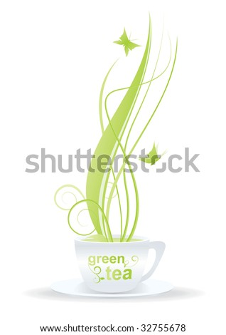 green tea cup with green floral decor and butterflies