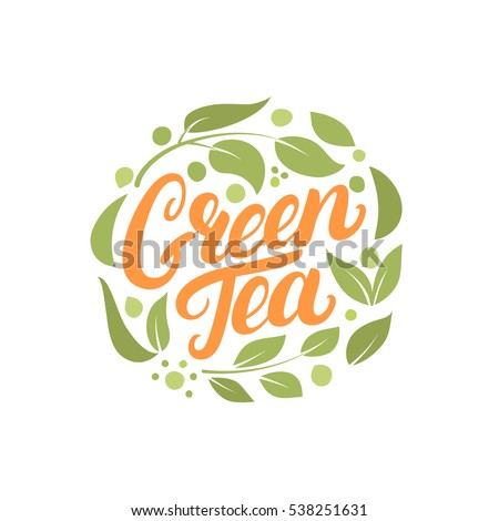 Green Tea hand written lettering logo, label, badge, emblem with leaves and flowers. Isolated on white background. Vector illustration.