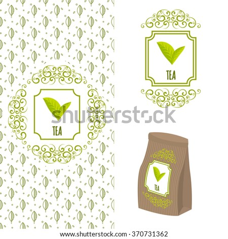 Green tea logo branding concept. Packaging ornate template for organic tea and green coffee. Eco paper bag with label and seamless leaf line pattern..