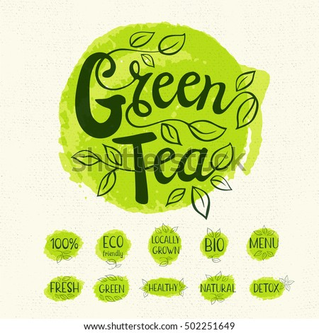 Green tea logo, lettering design, calligraphy logotype, leaf, set of stickers, green labels. Eco, bio, locally grown, natural, detox, healthy, menu. Hand drawn vector illustration.