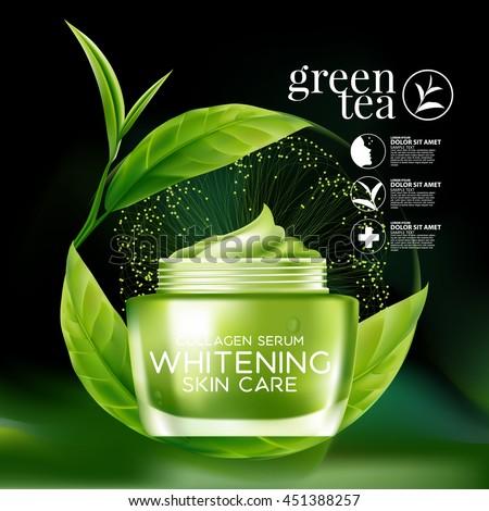 green tea serum and background