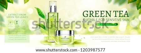 Green tea skin care banner ads with tea garden background in 3d illustration