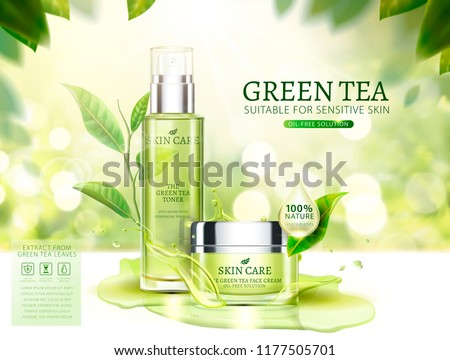 Green tea skincare ads with cream jar and spray bottle in 3d illustration, glittering bokeh background #1177505701