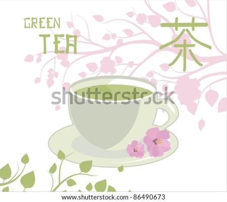 Green tea. vector background