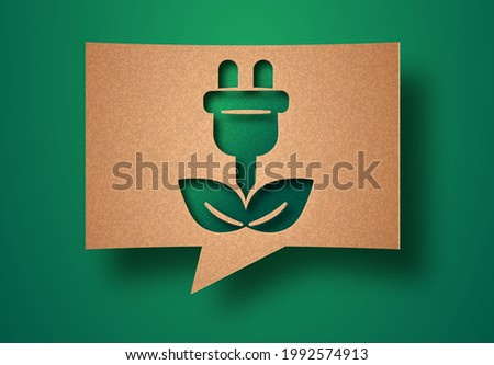 Green technology papercut illustration with plant leaf wire plug. Eco-friendly energy saving, electric power or environmental concept. 3d cutout in recycled paper speech bubble background.