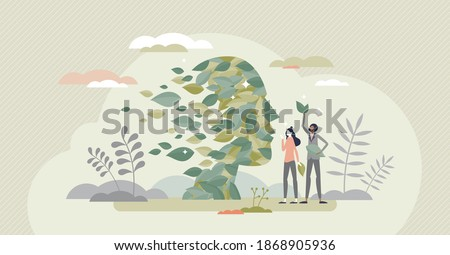 Green thinking as face rejuvenale with sustainable leaves tiny person concept. Environment friendly approach regeneration and alternative eco power consumption support symbolic vector illustration. Foto stock ©