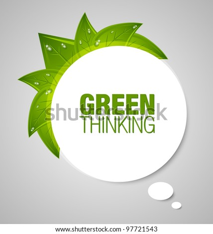 Green thinking bubble isolated on grey background