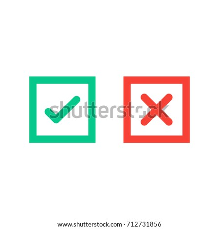Green tick and red cross checkmarks in square flat icons. Vector illustration isolated on a white background. Acceptance of voting results. Premium quality.