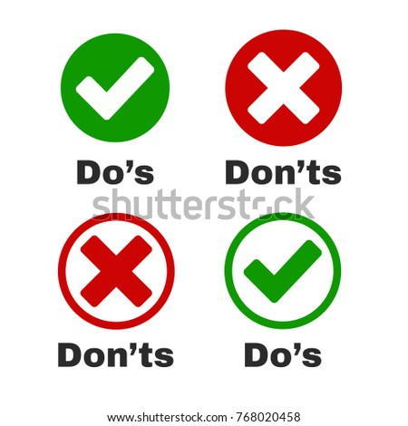 Green Tick and Red Cross with Do's and Don'ts. Vector stock illustration.