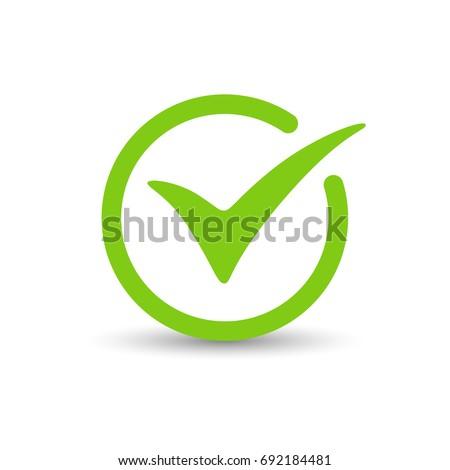 Green tick check mark, box, sign. Vector illustration.
