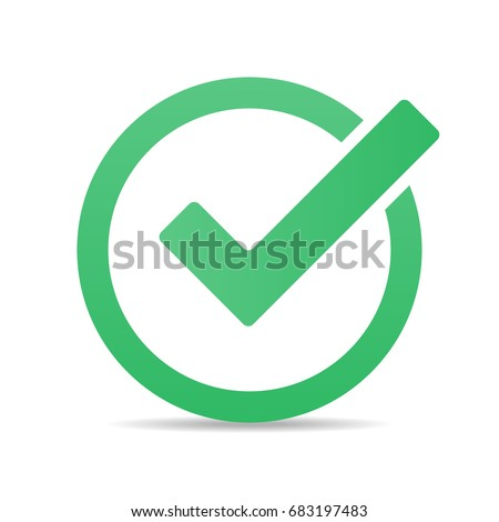 Green tick checkbox vector illustration isolated on white background