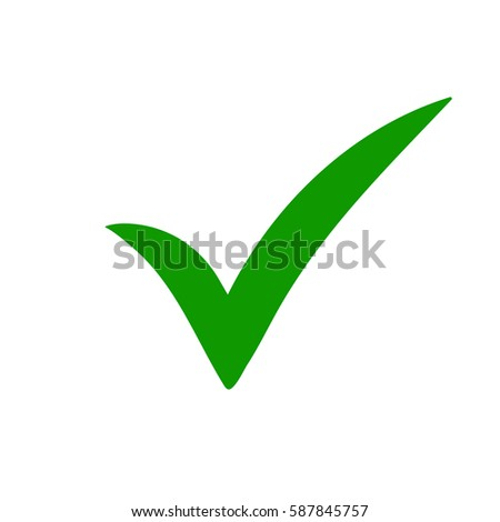 Green tick. Green check mark. Tick symbol, icon, sign in green color. Done. Stock vector illustration.
