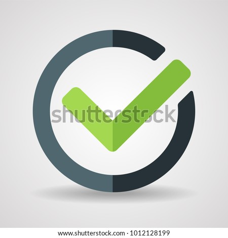Green tick icon vector illustration isolated on white background - stock vector