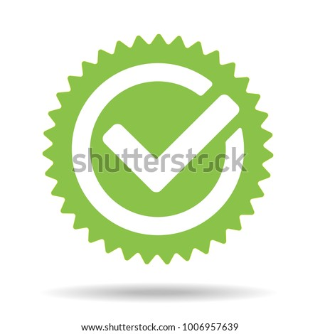 Green tick mark icon vector illustration isolated on white background. Check mark icon. Tick sign. Green tick approval icon.