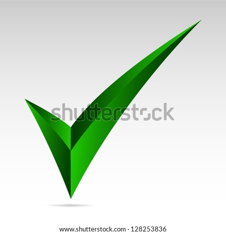 Green tick sign. Yes, mark, vote  Vector illustration
