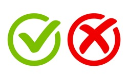Green tick symbol and red cross sign in circle. Icons for evaluation quiz. Vector.