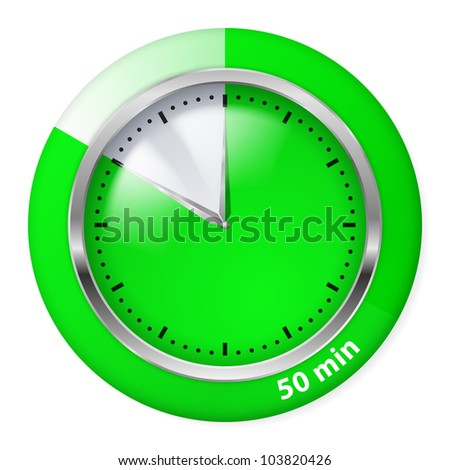 Green Timer Icon. Fifty Minutes. Illustration on white.