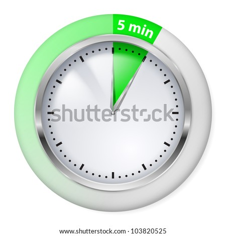 Green Timer icon. Five minutes. Illustration on white.