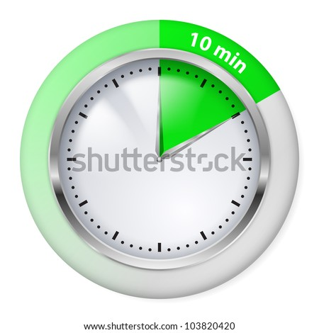Green Timer icon. Ten minutes. Illustration on white. - stock vector