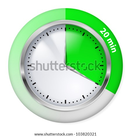 Green Timer Icon. Twenty Minutes. Illustration on white.