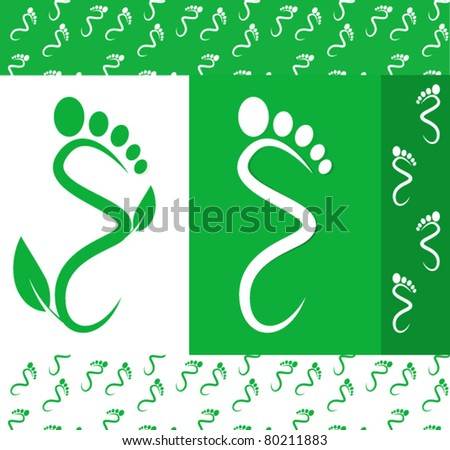 Green Toe Graphics Icons and Patterns - stock vector