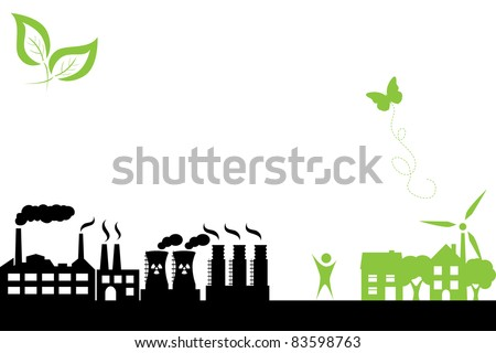 Green town with clean energy and industrial buildings