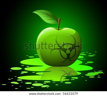 Green toxic apple with biohazard sing on black background vector