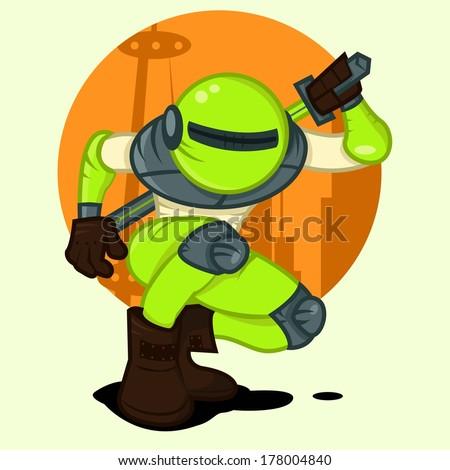 green toxic robot